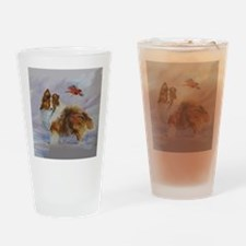 Sheltie with Cardinal Drinking Glass