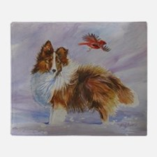 Sheltie with Cardinal Throw Blanket