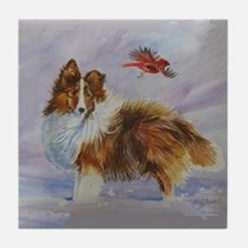 Sheltie with Cardinal Tile Coaster