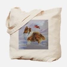 Sheltie with Cardinal Tote Bag
