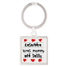 Kasandra Loves Mommy and Daddy Square Keychain
