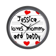 Jessica Loves Mommy and Daddy Wall Clock