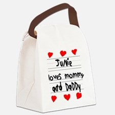 Junie Loves Mommy and Daddy Canvas Lunch Bag
