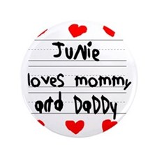 "Junie Loves Mommy and Daddy 3.5"" Button"