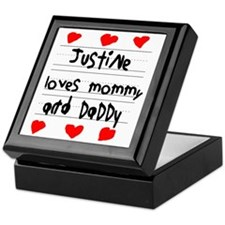 Justine Loves Mommy and Daddy Keepsake Box