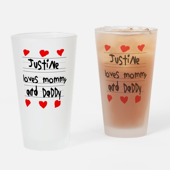 Justine Loves Mommy and Daddy Drinking Glass