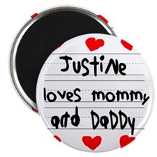 Justine Loves Mommy and Daddy Magnet
