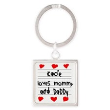 Kacie Loves Mommy and Daddy Square Keychain