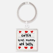 Kaitlin Loves Mommy and Daddy Square Keychain