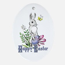 Happy Easter Rabbit Oval Ornament