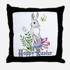 Happy Easter Rabbit Throw Pillow