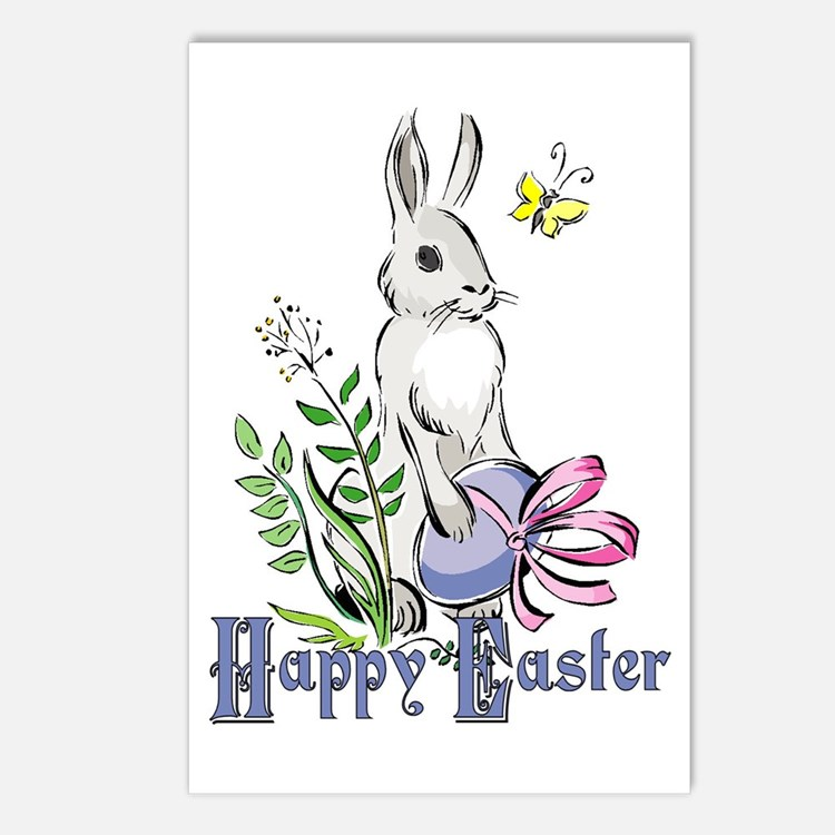 Happy Easter Rabbit Postcards (Package of 8)