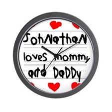 Johnathan Loves Mommy and Daddy Wall Clock