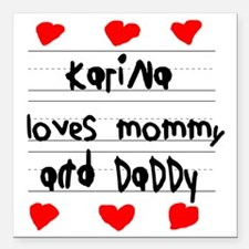 """Karina Loves Mommy and D Square Car Magnet 3"""" x 3"""""""