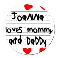 Joanna Loves Mommy and Daddy Round Car Magnet