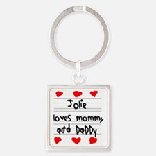 Jolie Loves Mommy and Daddy Square Keychain