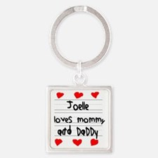 Joelle Loves Mommy and Daddy Square Keychain