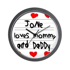 Jone Loves Mommy and Daddy Wall Clock