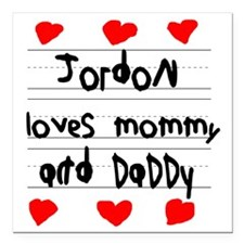 "Jordon Loves Mommy and D Square Car Magnet 3"" x 3"""