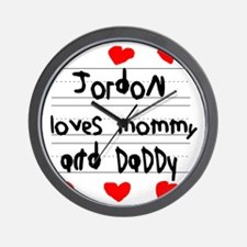 Jordon Loves Mommy and Daddy Wall Clock