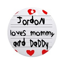 Jordon Loves Mommy and Daddy Round Ornament