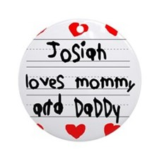 Josiah Loves Mommy and Daddy Round Ornament