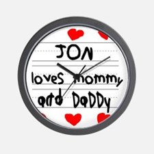 Jon Loves Mommy and Daddy Wall Clock