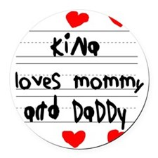 Kina Loves Mommy and Daddy Round Car Magnet