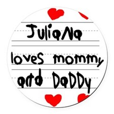 Juliana Loves Mommy and Daddy Round Car Magnet