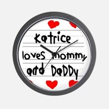 Katrice Loves Mommy and Daddy Wall Clock