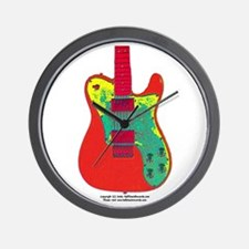 """Neon Red"" Guitar Wall Clock"