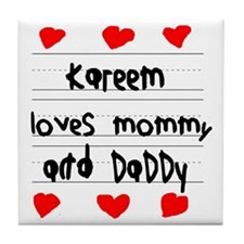 Kareem Loves Mommy and Daddy Tile Coaster