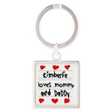 Kimberlie Loves Mommy and Daddy Square Keychain