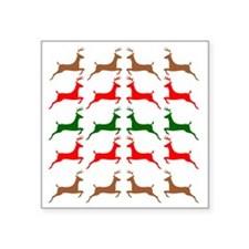 "Prancing Reindeer Ugly Holi Square Sticker 3"" x 3"""