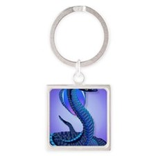 A Big Blue Snake Square Keychain