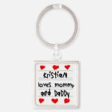 Kristian Loves Mommy and Daddy Square Keychain