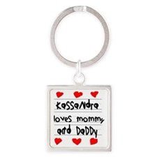 Kassandra Loves Mommy and Daddy Square Keychain