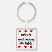 Katelyn Loves Mommy and Daddy Square Keychain