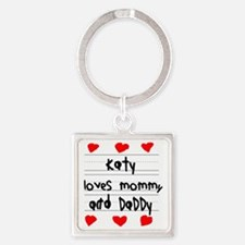 Katy Loves Mommy and Daddy Square Keychain