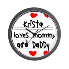 Krista Loves Mommy and Daddy Wall Clock