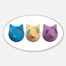 3 Alien Cats Oval Decal