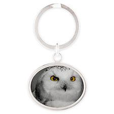 Snowy Owl Oscar Oval Keychain