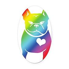 French Bulldog Love Cartoon RAINBO Oval Car Magnet