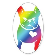 French Bulldog Love Cartoon RAINBOW Decal