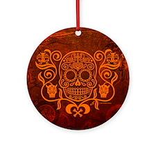 Day of the Dead Sugar Skull Round Ornament