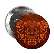 "Day of the Dead Sugar Skull 2.25"" Button"