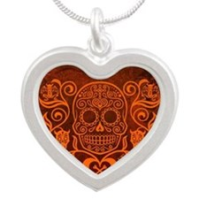 Day of the Dead Sugar Skull Silver Heart Necklace