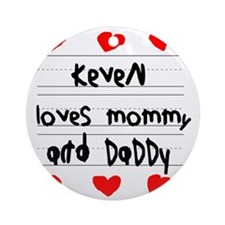 Keven Loves Mommy and Daddy Round Ornament