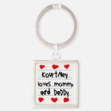 Kourtney Loves Mommy and Daddy Square Keychain