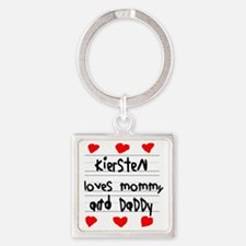 Kiersten Loves Mommy and Daddy Square Keychain